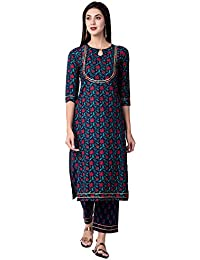 Gulmohar Jaipur Women's Straight Cotton Printed Kurta Palazzo Set (Blue)