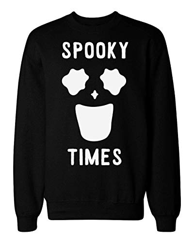 Spooky Times Funny Minimal Ghost Face Unisex Sweatshirt Large