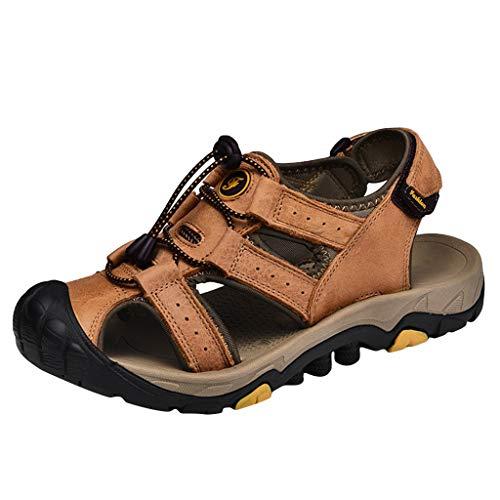 iLPM5 Herren Retro Trekking Schuhe Sommer Freizeit Atmungsaktiv Aushöhlen Schnalle Rutschfeste Flache Strand Sandalen Wanderschuhe(Orange,41)