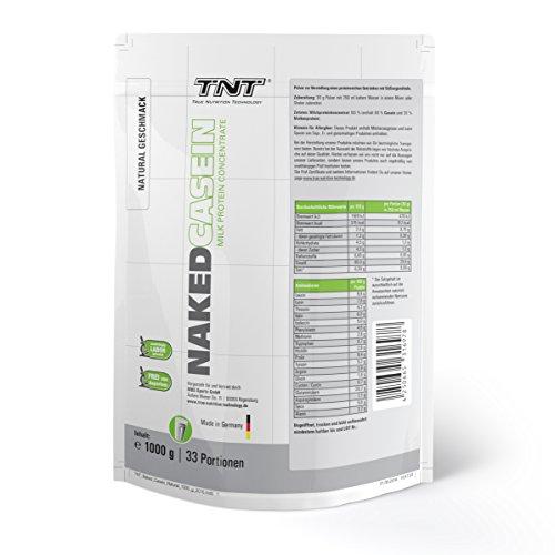 #Hochwertiges Casein aus Deutschland | Eiweiß-Shake für Muskelaufbau und Abnehmen | Leckerer Mahlzeitenersatz, aspartamfrei mit guter Löslichkeit | TNT Naked Casein Protein-Pulver 1kg Beutel (Natural)#