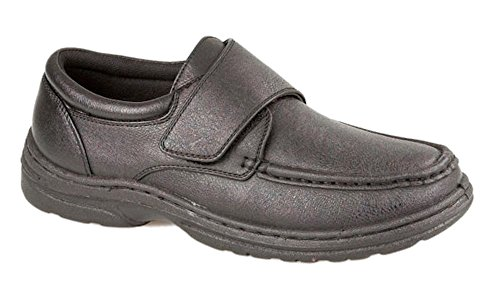 MENS VELCRO BAR STRAP EASY CLOSE WIDE FIT DRESS SHOE WITH GEL...