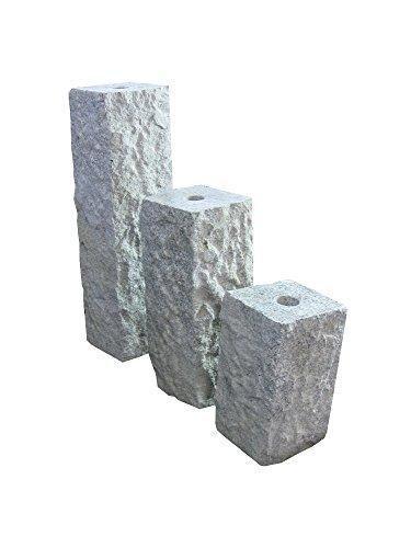Terrassenbrunnen / Gartenbrunnen aus 3 Stück Granitpalisaden in 3 Höhen, echter Naturstein, kein Steinguß