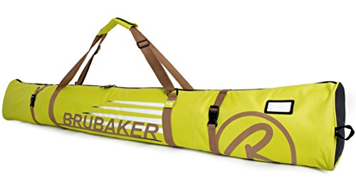 BRUBAKER Skitasche Carver Champion gepolsterter Skisack für 1 Paar Ski und Stöcke 190 cm Hellgrün Hellbraun