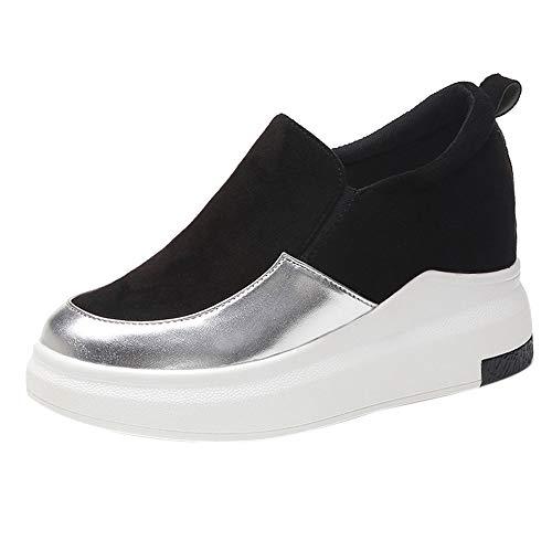BaZhaHei Sandalias Zapatos con cuñas para Mujer Redondo Interior Aumenta Las Bombas sin Cordones Zapatos...