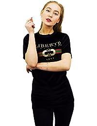 Baleza Women Ladies Short Sleeve Velvet Liberate Print T Shirt Top Sz 8-14