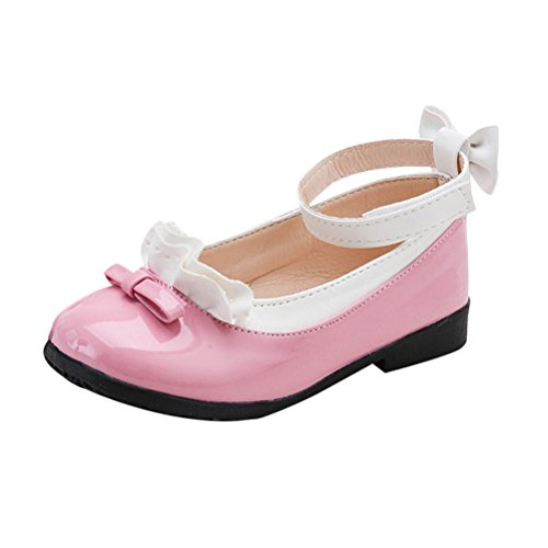 Zhhlinyuan Fashion All Size Party Shoes Children Kids Girls Princess Shoes Square Heels Dress Shoes Bow tie Sandals 4290# (Heels Bow Tie)