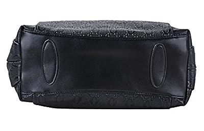 Minetom Femme Lot de 3 sacs pour cuir vintage Sac à main Sac à bandoulière Pochette Sac à main + Messenger Bag +Bourse Noir