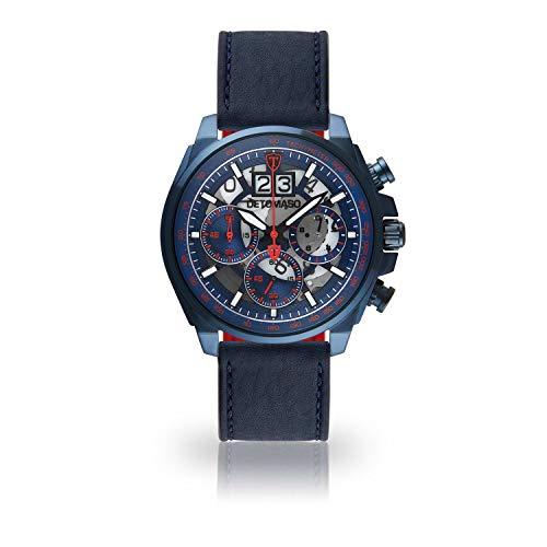 DETOMASO LIVELLO DT2060-D-830 - Reloj de Pulsera para Hombre, cronógrafo, analógico, Cuarzo, Correa de Cuero Azul Oscuro, Esfera Azul y Rojo