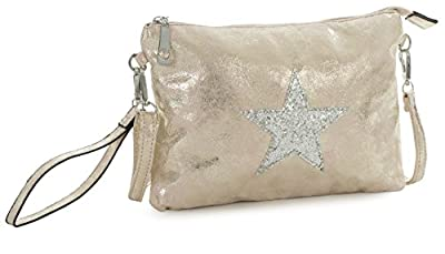 Big Handbag Shop Vegan Leather Fashion Trendy Designer Inspired Small Size Glitter Star Clutch Wristlet Messenger Crossbody Shoulder Bag