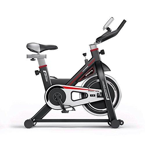 Bicicleta de Spinning Fitness Profesional con MicroComputadora - Pantalla LCD tiempo, scan, velocidad (RPM), distancia, calorías, pulsómetro, cuentakilómetros. - Robusto Chasis para Mayor estabilidad - Sillín Ancho - Resistencia Ajustable - Sillín y Manillar Altura Ajustable