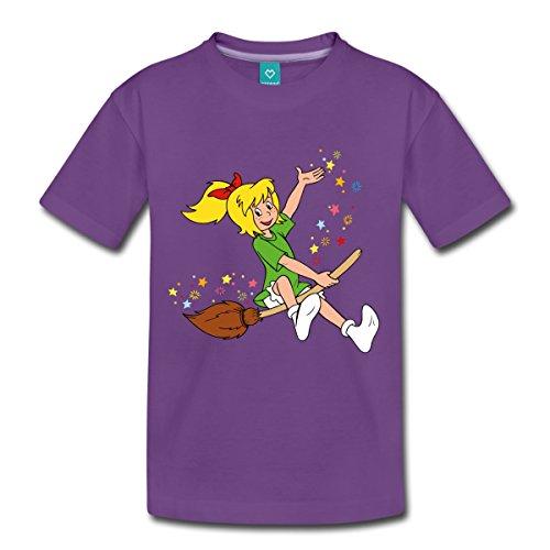 Spreadshirt Bibi Blocksberg Fliegt Auf Hexenbesen Kartoffelbrei Kinder Premium T-Shirt, 110/116 (4 Jahre), Lila (Einheitliche T-shirt Lila)