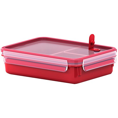 Emsa Mikrowellendose, Lunchbox mit Einsätzen, 1,2 Liter, Rot/Transparent, Clip & Micro, 517775