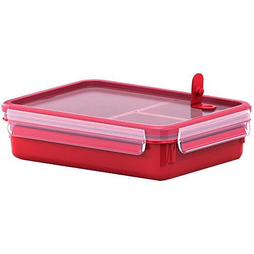 emsa brotdose variabolo Emsa Mikrowellendose, Lunchbox mit Einsätzen, 1,2 Liter, Rot/Transparent, Clip & Micro, 517775