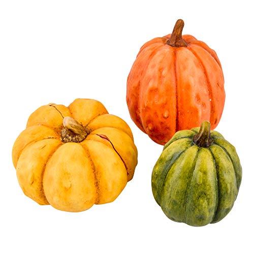 (Dadeldo-Home Kürbis 3er-Set Deko Herbst Halloween Keramik 9-10-14cm Mehrfarbig)