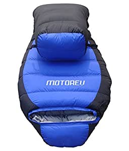 Motorev Blue Travelling Duck Feather Army Sleeping Bag with Cover- Blue & Black