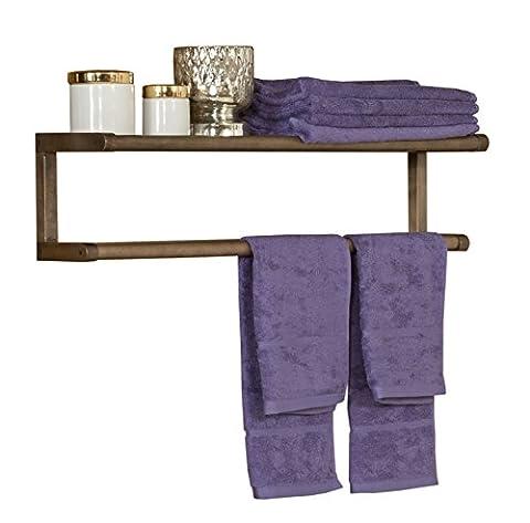 New Ridge Home Goods Abingdon Solid Birch Wood Towel BAR with Shelf, Antique Chesnut