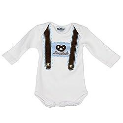 Eisenherz Baby Body Langarm hellblau Lausbub und Breze mit Hosenträger Applikation in verschiedenen Größen - süßer Trachtenlook Größe 68