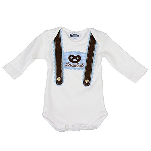 Baby Body langarm hellblau Lausbub und Breze mit Hosenträger Applikation in verschiedenen Größen - süßer Trachtenlook Größe 74