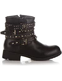 a7ffa01e577c Womens Ladies Combat Army Military Biker Flat Lace UP Calf Shoes Ankle  Boots Stud UK Sizes