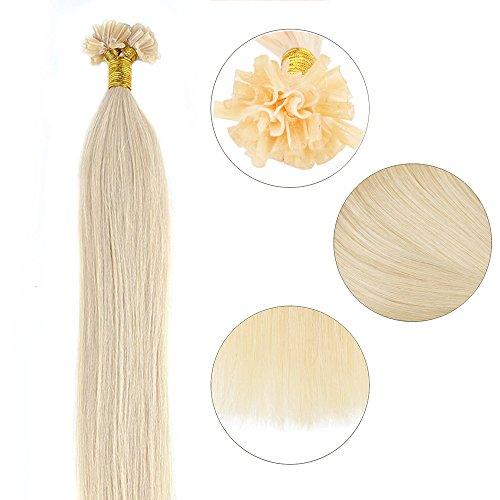 Extensions Echthaar Bondings 1g U-Tip Haarverlängerung 50 Strähnen Keratin Human Hair 50g-50cm(#60 Weißblond)