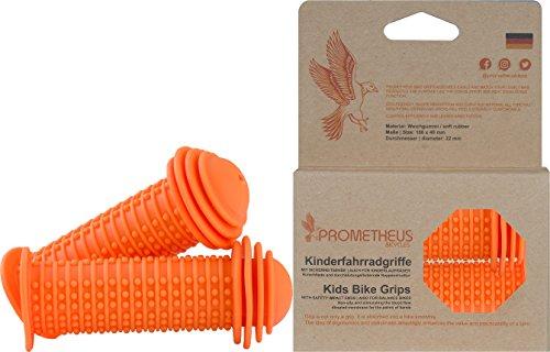 Prometheus Kinderfahrradgriffe in Orange mit Sicherheits - Prallschutz auch für Laufrad Roller - 22 mm Lenkergriffe Edition 2019