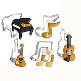HENGSONG 5tlg. Musik Edelstahl Ausstechformen Fondant Keks Plätzchen Ausstecher für DIY Backen Kuchen Dekorieren Tortendeko Modellierwerkzeug