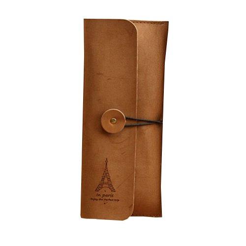 Eiffel Retro Matte PU Leder Stift Bleistift Tasche Tasche Geldbörse Tasche (9x21cm) SCHOKOLADE