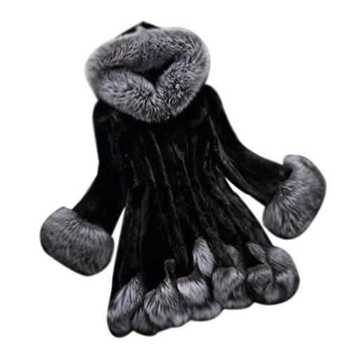 Donna cappotto di pelliccia faux giacca invernale parka cappotto corto con cappello maniche lunghe l nero