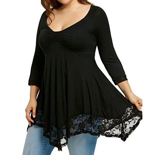 Oyedens taglia grossa t-shirt da donna casual con maniche lunghe in pizzo e o-collo abbigliamento donna (xxl, nero)