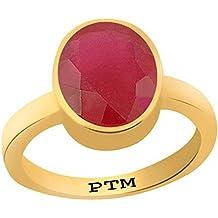 PTM Certified Natural 9.25 Ratti or 8.41 Carat Ruby Gemstone (Manik) Astrological Gemstone Panchdhatu Gold Plated Ring