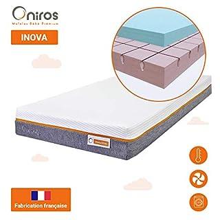 ONIROS - Matelas Bébé Premium - Modèle INOVA - 70 x 140 x 13 cm - Matériau Thermorégulant - Multiples Canaux de Ventilation - Déhoussable et Lavable - Fabrication Française
