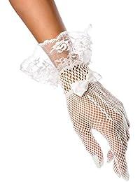 ILAVO® Elegante Hochzeits Netzhandschuhe mit Spitzenbesatz und aufgesetzte Satinschleife in weiß