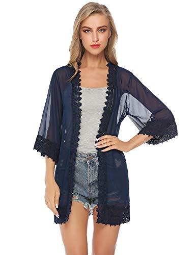Aibrou Damen Sommer Strand Kimono Florale Tops Cardigan Spitze Chiffon Shawl Bluse Beachwear Bikini Cover up Leichte Jacke Oberteil (Weiß 2, Medium)