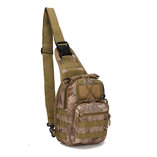 Mcdobexy Leichte Tactical Sling Rucksack Militär Schultertasche Umhängetasche EDC Brusttasche für Outdoor Sport Camping Wandern Tan Python