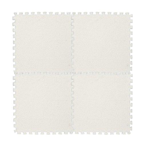 Puzzlematten,Setsail 1 PC Bodenschutzmatten Kinder Teppich Schaumstoff Puzzle Matte Shaggy Samt Baby Matten (Weiß, 30 * 30 cm)