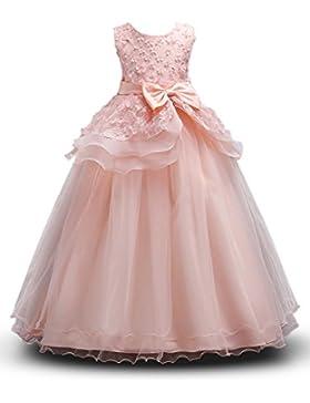 Vestito Principessa Abito da Ragazze Cerimonia Matrimonio Tutu Senza Maniche 120-160cm