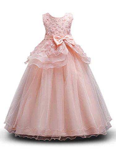 (Prinzessin Kostüm Mädchen Blumen Kleider Lang Rock mit Schmetterling ärmellos Party Hochzeit KleidGr. 120 (5-6 Jahre), Rosa)