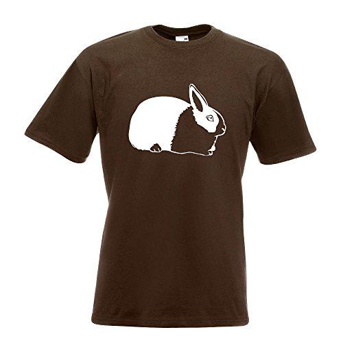 KIWISTAR - Hasen Piktogramm - Häschen - Kaninchen T-Shirt in 15 verschiedenen Farben - Herren Funshirt bedruckt Design Sprüche Spruch Motive Oberteil Baumwolle Print Größe S M L XL XXL Chocolate