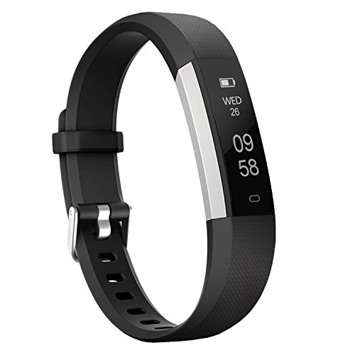 moreFit Slim 2 Fitness Tracker Bluetooth Smart Armband Uhr Touchscreen Schrittzähler Armband mit Schnalle für iphone 8/7/7 Plus / 6 / Samsung S8 / Galaxy / IOS / Android, Schwarz