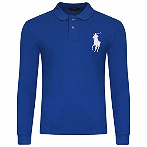 Ralph Lauren Men's Big Pony Polo Long Sleeve Custom Fit Shirt (Small, Königsblau) (Pony Mesh-polo Big)