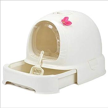 Toilette en Plastique Auto-Nettoyante pour Animaux De Compagnie avec Désodorisant Fermé, Bac À Toilette/Bac À Litière pour Chat, Bac À Litière,White