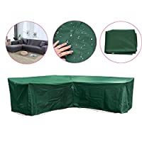 dDanke 215x215x87x67cm Polyester Waterproof Durable L Shape Outdoor Patio Garden Protective Cover for Corner Sofa (Green)
