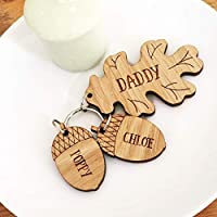 Personalised Daddy Keyring Oak & Acorn   Mummy keychain   present for her or him from child new parent