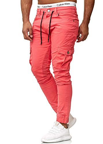 Kurze Skinny Jeans (OneRedox Herren Chino Pants   Jeans   Skinny Fit   Modell 3207 Lachs 33/32)