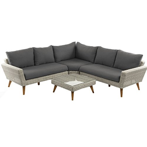 OUTLIV. Lounge Gartenmöbel Set Andalucia 4tlg. m.Kissen Natural Grey Ecklounge Loungemöbel