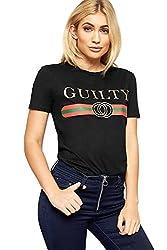 WearAll - Damen Kurz Hülle Guilty Glanz Slogan Druck Top Damen Grafik T-Shirt - Schwarz - 36-38