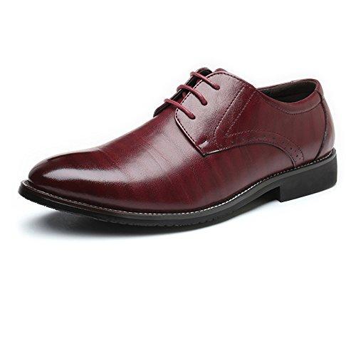 Hilotu Herren Prince Leder gefütterte Kleid Oxfords Schuhe Klassische Cap Toe Schnürschuhe für die Nachtclubparty (Color : Wein, Größe : 47 EU) Cap Toe Loafer