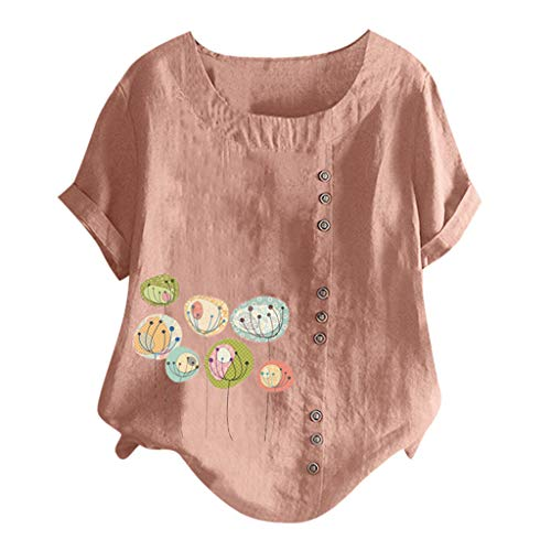 Andouy Damen Mode Knopf Bedrucktes T-Shirt Beiläufig Übergröße Oberteile Bluse(3XL(50).Orange-Ballon)