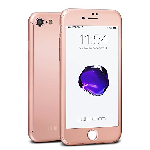 iPhone 7 case, Willnorn Norn One integrale ultra sottile custodia con proteggi schermo in vetro temperato per Apple iPhone 7 (11,9 cm) Rose Gold