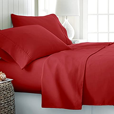 100% EGYPTIAN COTTON 200 THREAD COUNT HOTEL QUALITY PILLOW CASE PAIR (Oxford Pillowcase, Red)